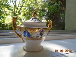 1930 Újszerű(!) Empire aranybrokát királykékkel,virágváza mintás Royal EPIAG cukortartó
