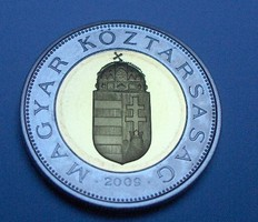 2009 Tükörveretű (PP) 100 forint címeres bimetál Csak 4000 darab készült.