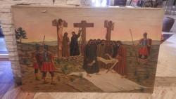 Jézus levétele a keresztről régi hatalmas olaj-vászon festmény 100x160 cm