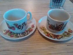 Angol pillangós porcelán kávés csésze kistányéral