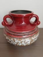 Bordó és barna színátmenetes iparművészeti kerámia váza
