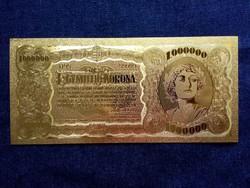 Gyönyörű arany színű plasztik dísz Egymillió korona/id 9707/