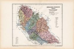 Máramaros vármegye térkép 1904, megye, Nagy - Magyarország, eredeti, Kogutowicz Manó, atlasz