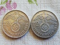 IIIBirodalmi Német ezüst 2 márkák 1938.A.1938.B