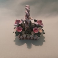 Capodimonte porcelán virág, virágkosár