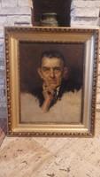 Karlovszky Bertalan festmény (1858-1938) Wigand Ede portré festmény 1933