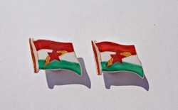 Búza kalászos, vörös csillagos magyar zászló, porcelán mandzsettagomb