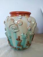 Ritka Komlós art deco váza plasztikus díszítéssel