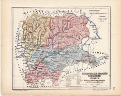 Beszterce - Naszód vármegye térkép 1904, megye, Nagy - Magyarország, eredeti, Kogutowicz Manó atlasz