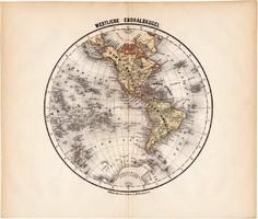 Világtérkép, Nyugati - félteke térkép 1871, lexikon melléklet, német nyelvű, eredeti, Amrika, nyugat