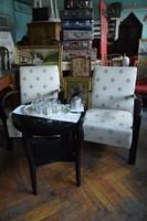 Art deco fotelek, asztallal, fekete