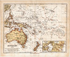 Ausztrália térkép 1871, német nyelvű, eredeti, Óceánia, Új - Guinea, Új - Zéland, 23 x 19 cm, régi