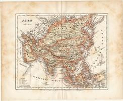 Ázsia térkép 1871, lexikon melléklet, német nyelvű, eredeti, 23 x 19 cm, kelet, Kína, India, Japán