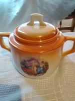 Csodaszép jelenetes zsolnay cukortaró  teáshoz