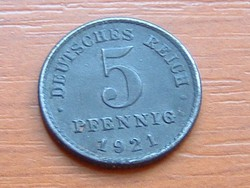 NÉMET BIRODALOM 5 PFENNIG 1921  VAS