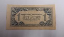 1 pengő 1944, függőleges alapnyomat, ritkább.