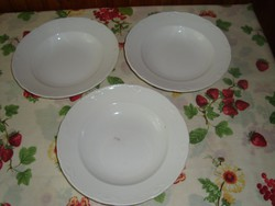 Fehér, dombormintás Gránit tányér, mélytányér, 3 db