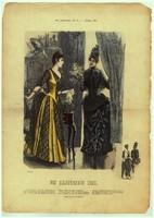 Különleges, egyedi,1887-es, Április hónap, 29 x 41 cm.-es, színes, divatkép, lakása díszítéséhez.