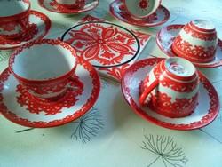 Koreai porcelán mokkás kávés, hibátlan + kézzel festett alátét Inczéné Sárkány Ilona