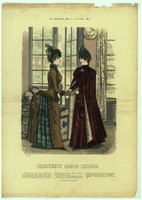 Különleges,egyedi,1886 év, Márciusa, 29 x 41 cm.-es, színes, divatkép, lakása díszítéséhez.