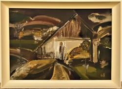 Mizser Pál (1941 - ) Falu c. Képcsarnokos olajfestménye 76x56cm Eredeti Garanciával !! -
