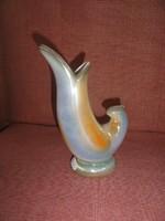 Iparművész porcelán, halformájú váza, 20 cm magas.