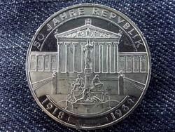 Ausztria, 50 éves a köztársaság ezüst .900 50 Schilling 1968 PP/id 9579/