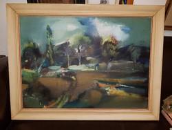 Göcsey József olajfestménye, 50x70, plusz keret