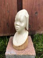 Antik valódi elefántcsont 433g faragott afrikai fej szobor gyönyörű