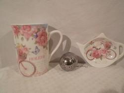 Porcelán - teázó szett 3 db - os új - bögre 2,5 dl - filtertartó 11,5 x 8,5 cm - fém teadió 4 x 4 cm