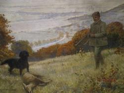 Szirmai Antal 1860-1927 nagyméretü  szép régi vadászfestménye ov.