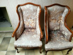 Barok antik 2 darab füles fotel
