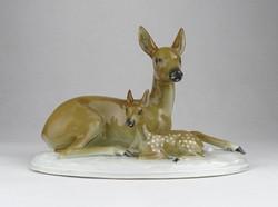 0T970 Régi Fasold & Stauch porcelán őz és gidája