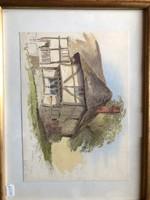 Házikó akvarell szignóval