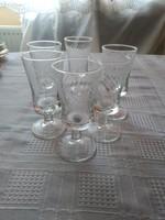 Csiszolt  pálinkás talpas pohár 6 darab