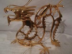 24 ka. aranyozott - Swarovski kristályokkal díszített sárkány - új - 13 x 11 x 5 cm
