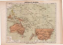 Ausztrália és Polynesia térkép 1885, Magyar Lexikon, Óceánia, Csendes - óceán, Rautmann Frigyes