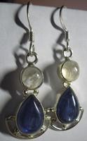925 ezüst fülbevaló kyanittal és holdkővel