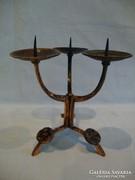 Iparművész fémműves bronz háromágú gyertyatartó