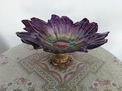 Gyönyörű asztali kínáló üveg dísztál réztalpon