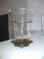 Üvegbetétes váza tartó asztalközép
