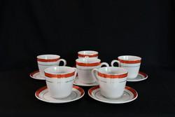 Zsolnay kávés mokkás készlet - 6 személyes - retró - narancs és arany csík dekorral