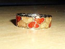 Arany- Rubintos Szív Tűzzománc Iparművész Gyűrű 7-es