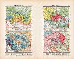 Magyarország kis térképek 1906 (2), térkép, atlasz, eredeti, Cholnoky Jenő, néprajz, hőmérséklet