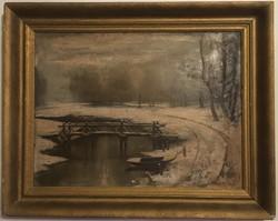Rácz Kálmán (1908-1994): Téli patak part. Olaj, karton, jelzett, sérült, keretben, 75 × 60 cm