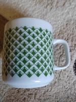 Lengyel szép zöld mintás teás csésze