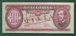 100 Forint 1960 MINTA UNC Bélyegzett és perforált