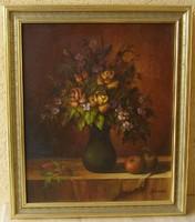 JÁNOSI KATALIN eredeti olajfestménye Garanciával! (Keret nélkül: 60 cm x 50 cm; olaj-farost)