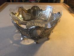 Régi, dekoratív üveg betétes 800-as ezüst tál