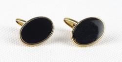0X297 Fekete ovális réz mandzsetta gomb pár